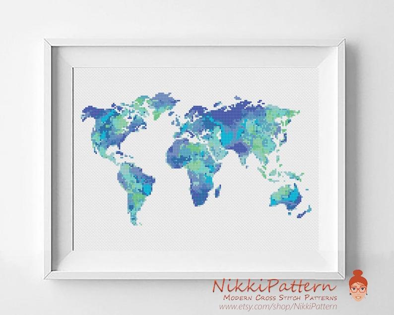 World cross stitch pattern Watercolor cross stitch Map image 0