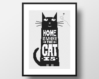 Black Cat cross stitch pattern Home sweet home quote Counted cross stitch Wall decor Easy cross stitch Modern embroidery Digital download