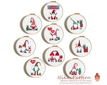 Gnomes modern cross stitch pattern bundle, Set of 9 cute Christmas Gnomes, DIY gift Easy, Christmas Card, Counted cross stitch chart