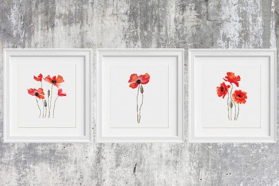 Modern Counted Stitch Pattern Pdf Instant Download. Flower Cross Stitch Pdf Flower Design Poppy Flowers Set Cross Stitch Patterns Set