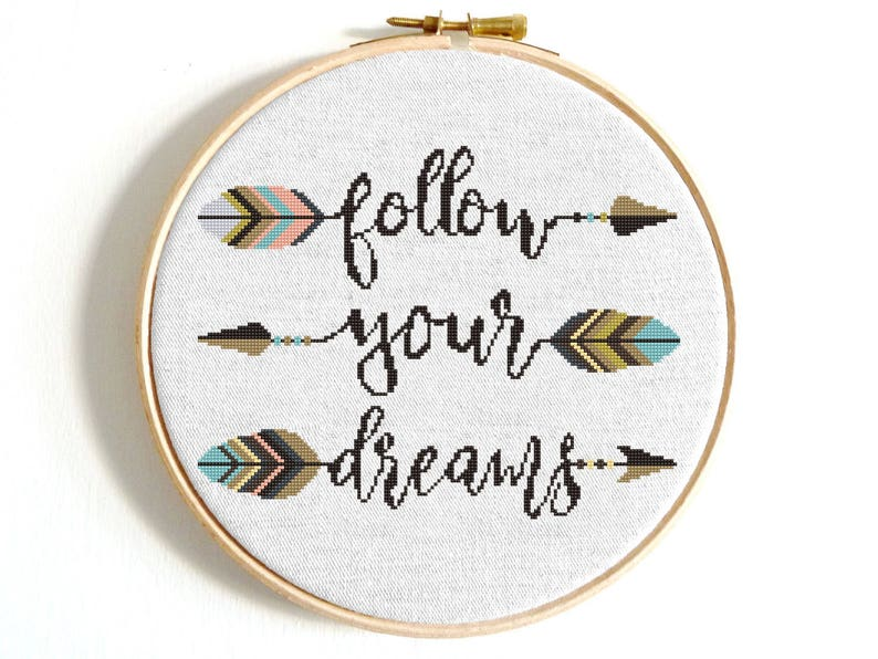 Feather cross stitch pattern Follow your dreams Arrow cross stitch Aztec tribal embroidery sampler Modern Birthday DIY gift Baby shower gift