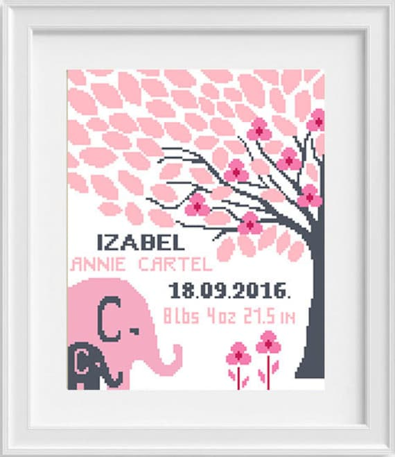 Birth announcement cross stitch pattern New Baby Girl Personalized Baby Shower Birth Sampler Fox cross stitch Baby cross stitch Be clever