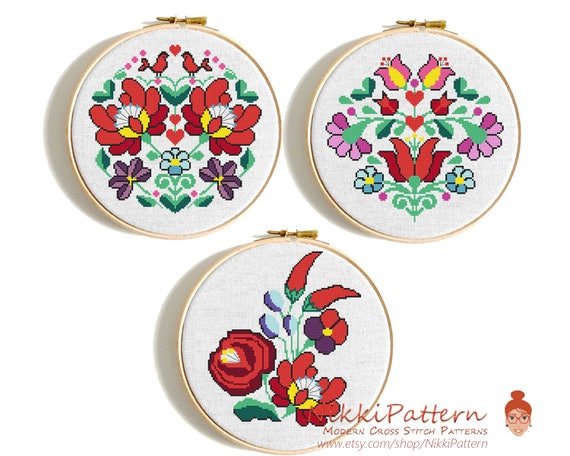 Modern Flower Cross Stitch Pattern Hungarian Floral Pattern Etsy Stunning Cross Stitch Flower Patterns