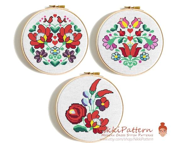 Modern Flower Cross Stitch Pattern Hungarian Floral Pattern Etsy Stunning Cross Stitch Flower Patterns