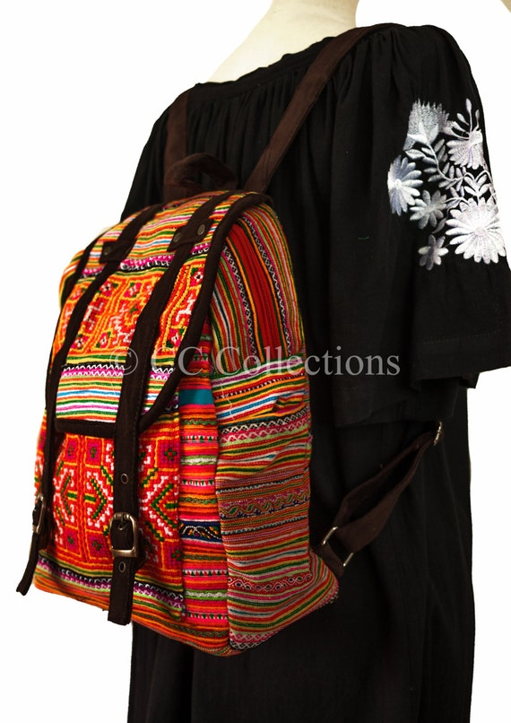 Backpack Handmade + Materials High Quality Embroidered Work Tribal Bohemian Purple Ethnic Vintage Cotton by Etsy