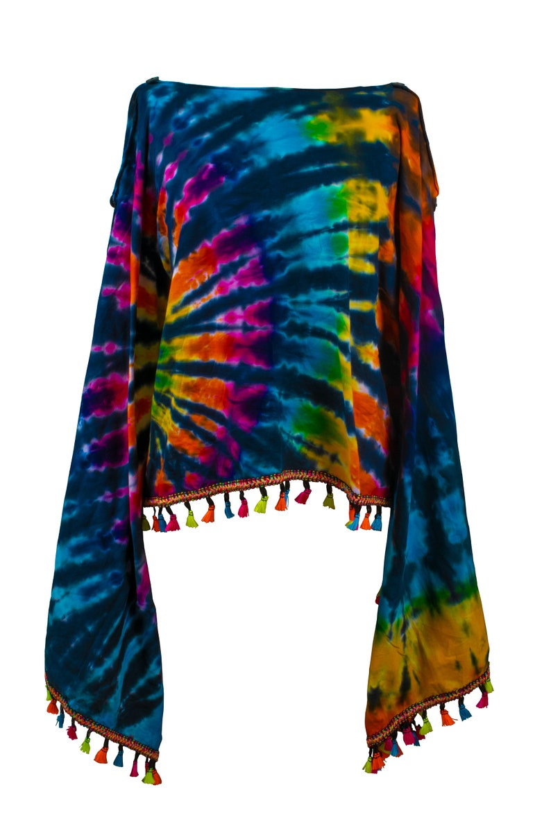 Tie dye Groovy Colors 2 in 1 Poncho Wrap Shawl Bohemian hippie festival