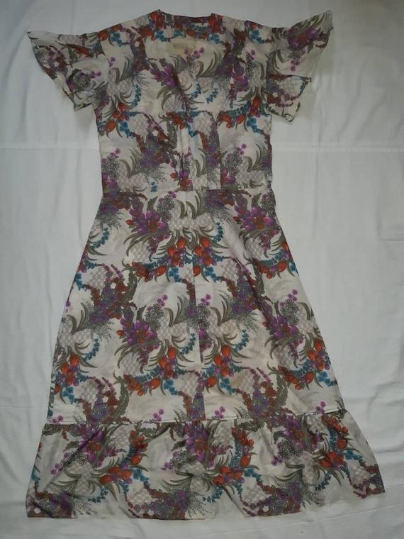 soviet vintage vintage dress 11-13 years embroidered dress soviet dress Vintage teenager blue dress blue cotton dress