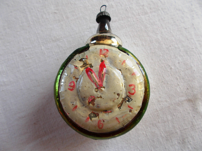 Clock Alarm Clock Vintage Glass Ornament Hand Painted
