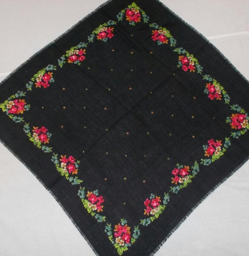 eeb8e955e7 Soviet Vintage Russian Deep Black Shawl With Floral Design | Etsy