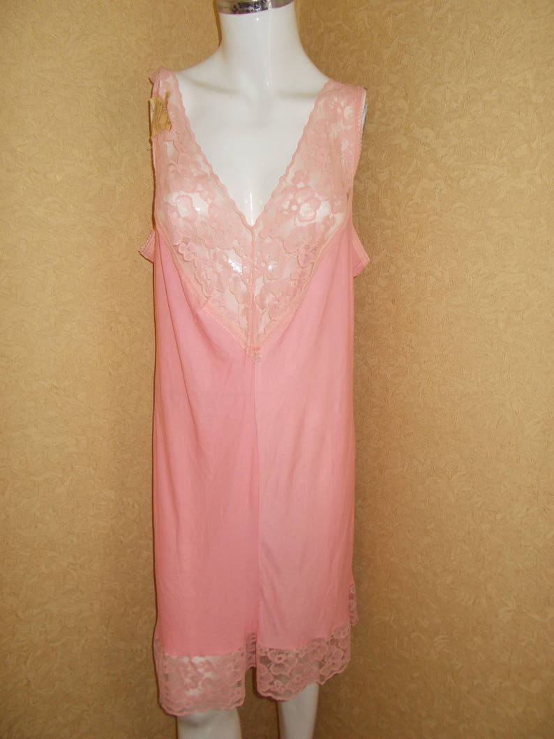 a0decf7f2d705 NOS Soviet -Time Vintage Negligee Slip with Lace Ladies Pink Slip Large  Size Lingerie Shirt Night Dress t-shirt pijama Russian USSR Vintage