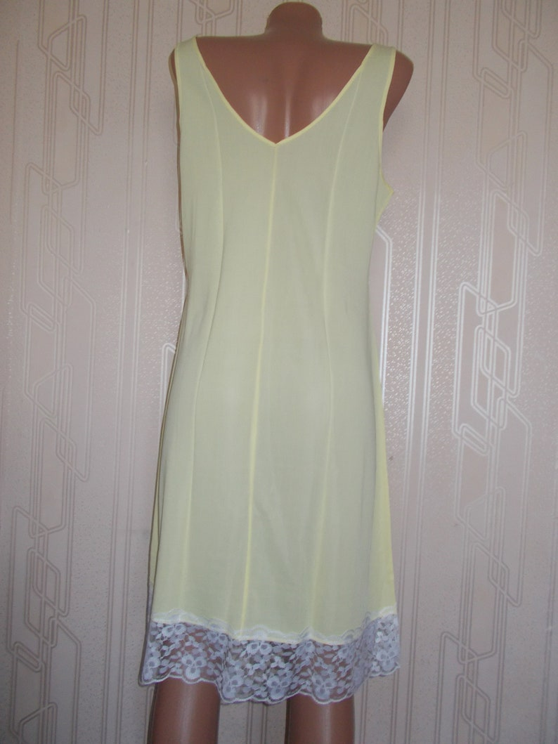 NOS Soviet Time Vintage Negligee Slip with Lace Ladies Yellow Slip Large Size Lingerie Shirt Night Dress t-shirt pijama Russian USSR