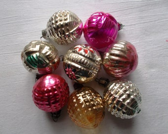 Set of 8 Glass Christmas Ornament Pink Orange Gold Golden Silver Abstract Bulbs Vintage Jingle Bell Tree Glass Soviet USSR Flower Onion