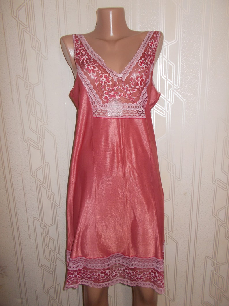 cc12c491e4719 Soviet -Time Vintage Negligee Slip Red Large Size Lingerie Unworn Shirt  Night Dress t-shirt pijama Russian