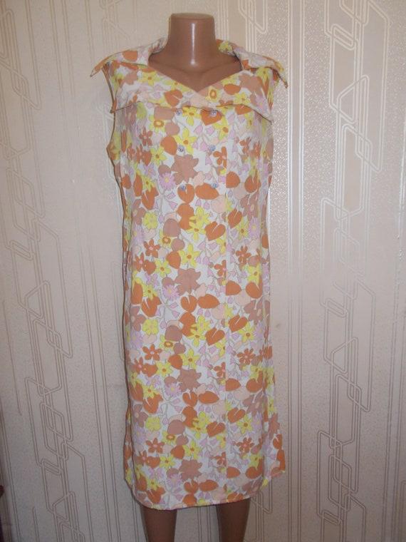 Soviet Vintage Dress Retro Brown Dress with Yellow