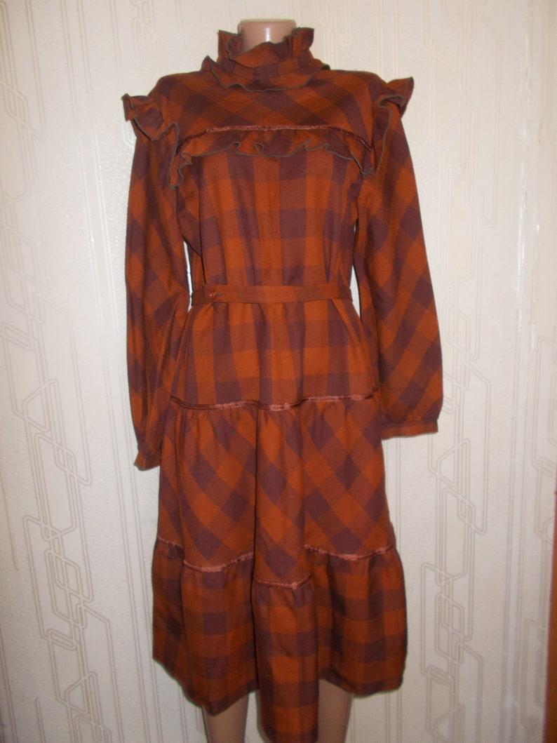 Denim Dress Vintage Brown Heavy Fabric Winter Dress 1970 Women Clothing Day Soviet Union USSR US Size 12 EU 44 Russian Fashion Retro
