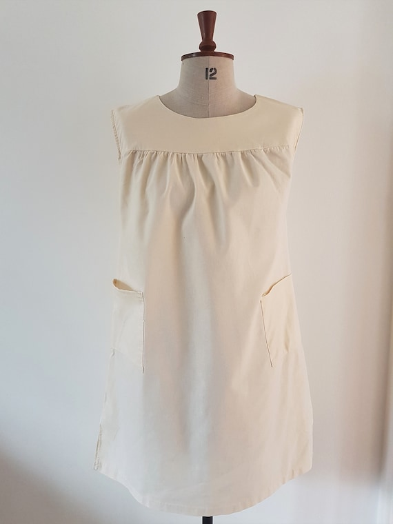 1960's cream cotton tabard/smock style blouse