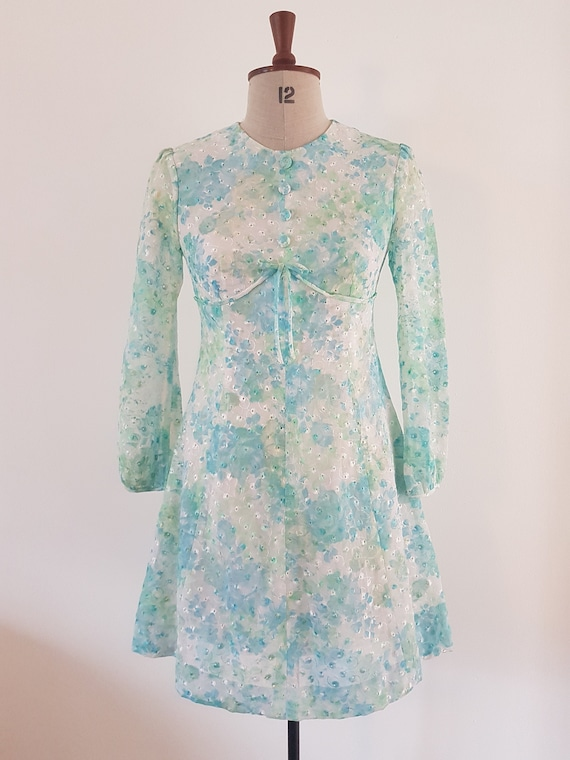 1960's pastel floral synthetic lace mini dress