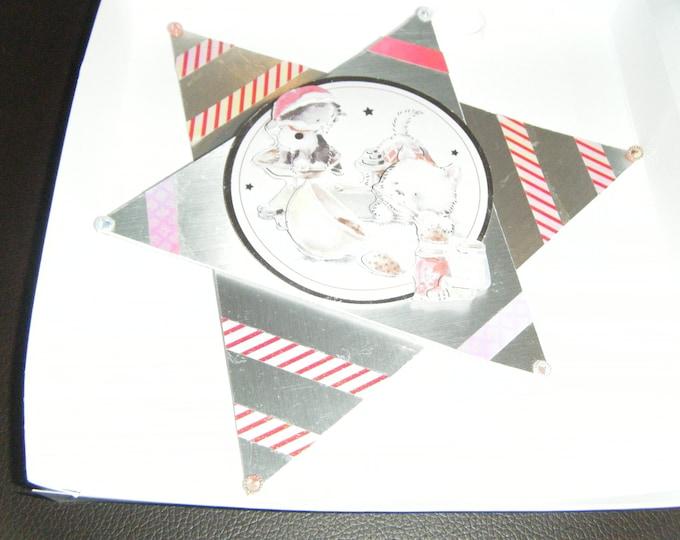 Handmade Decoupage Christmas Star Card