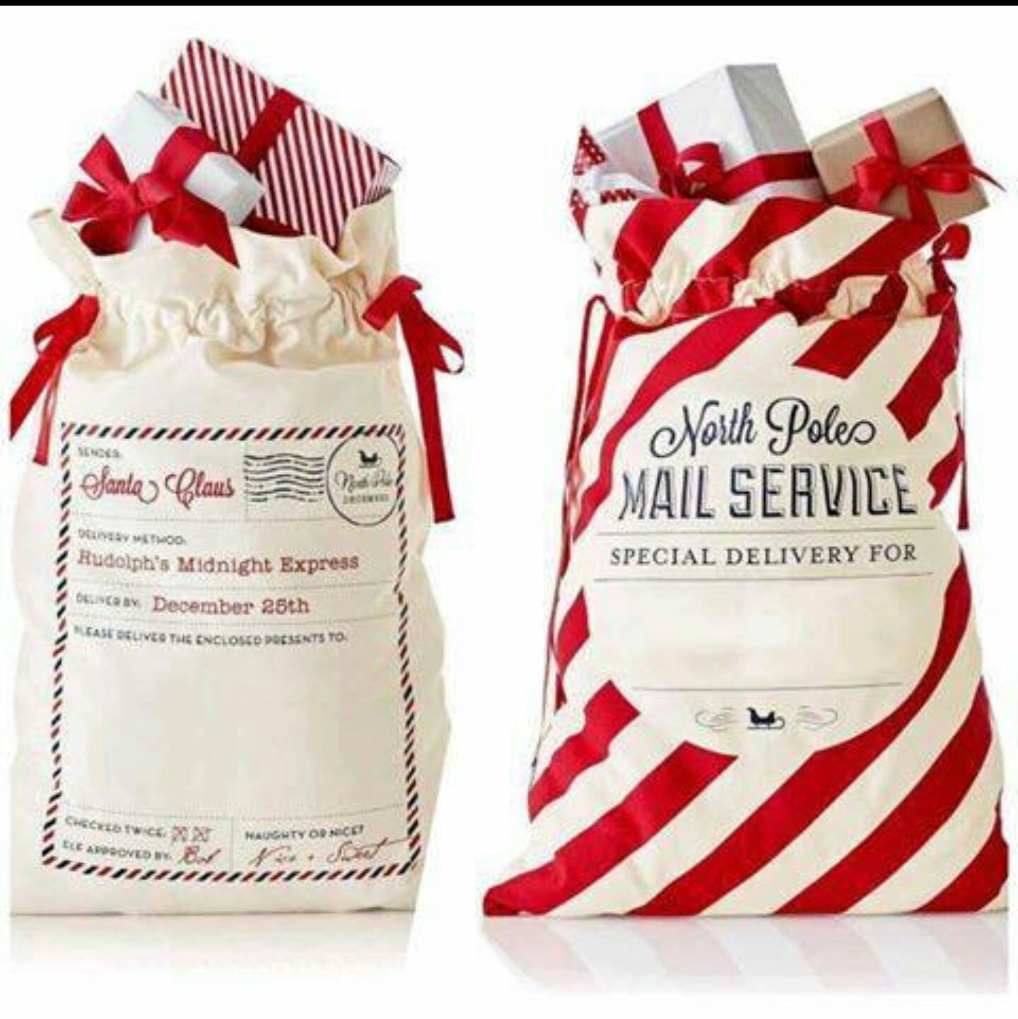 santa bags, santa sacks, personalized santa bags, Christmas morning ...