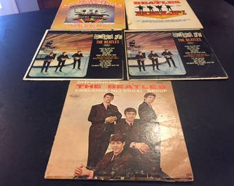 5 original Beatles albums on vinyl LPs: Introducing, Something New, Help!, Magical Mystery Tour