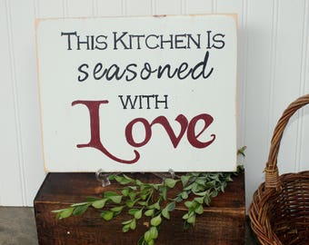 This kitchen is seasoned with love, kitchen sign, love sign, wedding gifts, Wood Sign, wooden kitchen sign, wall hanging, reclaimed wood