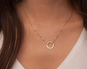 Gold Karma Necklace, Open Circle Necklace, Karma Necklace, Gold Circle Necklace, Eternity Necklace, Infinity Necklace, Simple Gold Necklace