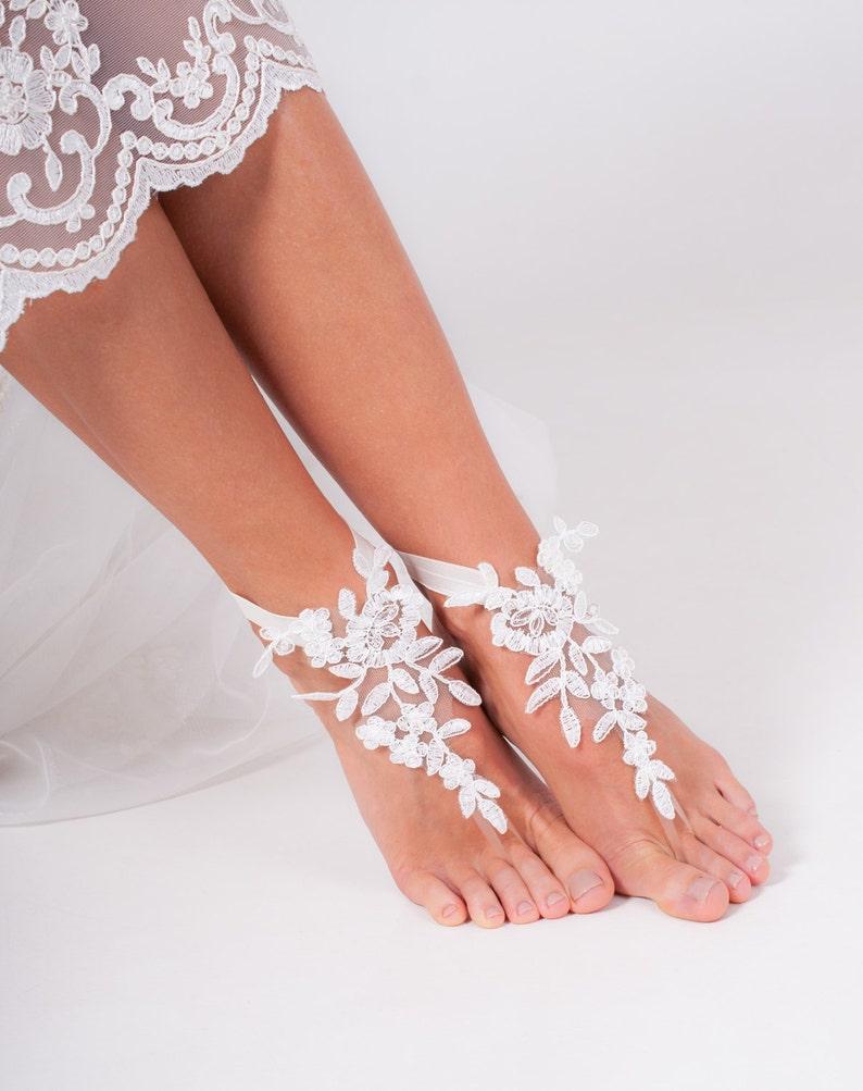 e8af4c6f98b0f0 Ivory barefoot sandals Bridal shoes Wedding shoes Bridal
