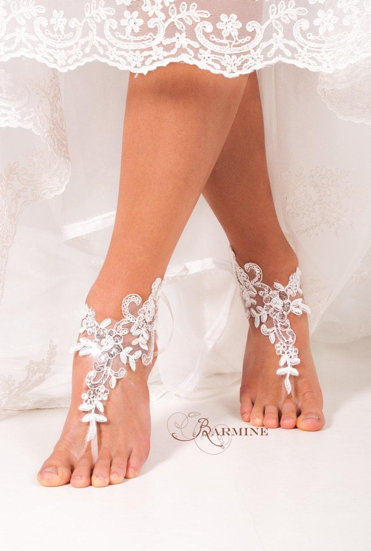 b519d9a691dd Lace barefoot sandals Bridal footless sandals Sequin lace