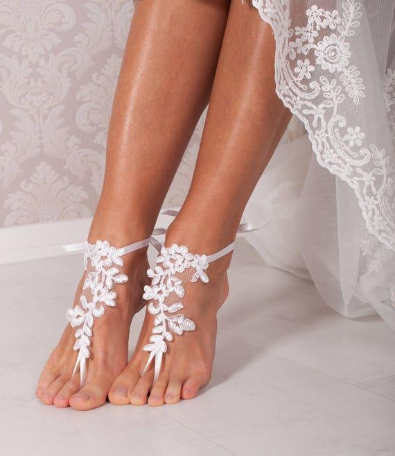 595dbcb0d92f White lace barefoot sandals Bridal shoes Wedding shoes