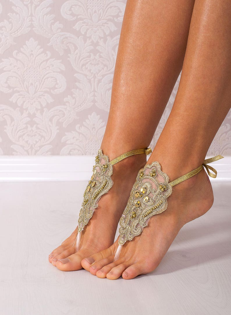 7b60da491ad5 Gold Lace barefoot sandals Bridal footless sandals Wedding