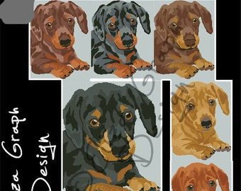 Dachshund Puppy CROSS STITCH Pattern, CROCHET Graphghan Blanket Pattern