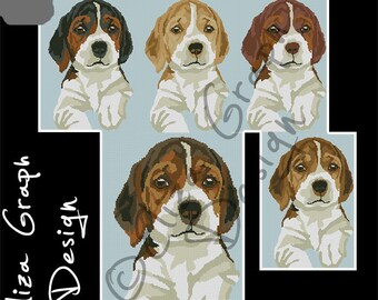 Beagle Puppy CROSS STITCH Pattern, CROCHET Graphghan Blanket Pattern