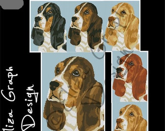 Basset Hound Puppy CROSS STITCH Pattern, CROCHET Graphghan Blanket Pattern