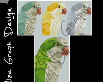 Quaker parrot CROSS STITCH Pattern, CROCHET Graphghan Blanket Pattern