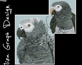 African Grey parrot, Timneh parrot CROSS STITCH Pattern, CROCHET Graphghan Blanket Pattern