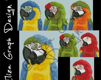 Macaws: Blue and yellow, Blue-throated, Military, Red and green, Harlequin, Scarlet CROSS STITCH Pattern, CROCHET Graphghan Blanket Pattern