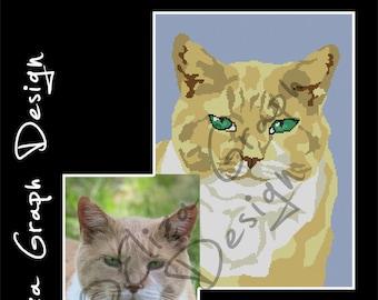 Custom Cat CROSS STITCH Pattern, CROCHET Graphghan Blanket Pattern