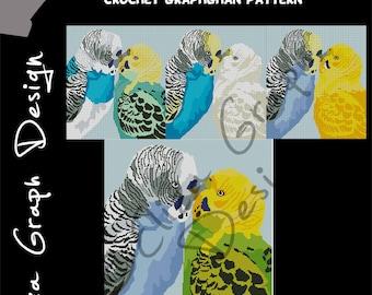 Budgie Pair choose color CROSS STITCH Pattern, CROCHET Graphghan Blanket Pattern