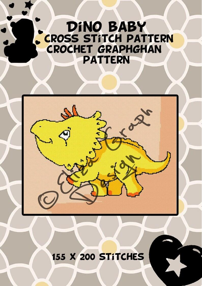 Baby Dinosaur CROSS STITCH Pattern, CROCHET Graphghan Blanket Pattern