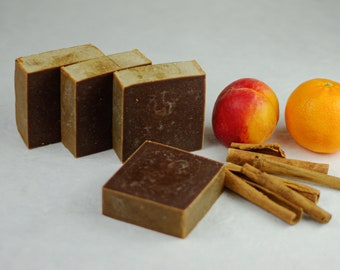 Apricot Cinnamon Soap - Essential Oils - Natural Soap - Eco Friendly - No Waste - Gift - Vegan - Real Fruit Soap