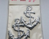 Silver anchors appliques unopened package Vintage Modella embroidered appliques washable set of two Big appliques