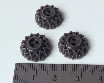 3 little gray brown plastic buttons / 15 mm unusual vintage star-flower plastic buttons