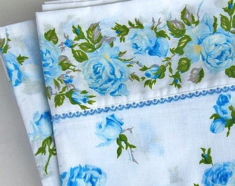 Vintage Blue Floral Full/Double Flat Sheet by Texmade Lace Trim Cotton Polyester Made in Montreal, Canada 70s 80s Retro Bedding