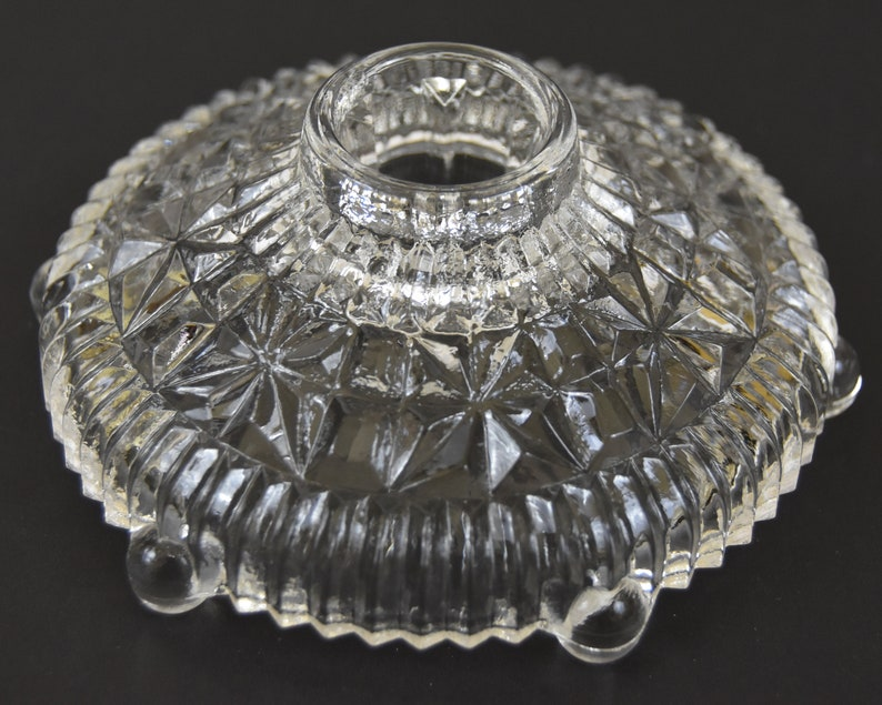 Round Low Vintage Pressed Glass Candle Holders clear candleholder with feet Footed Cut Glass Like