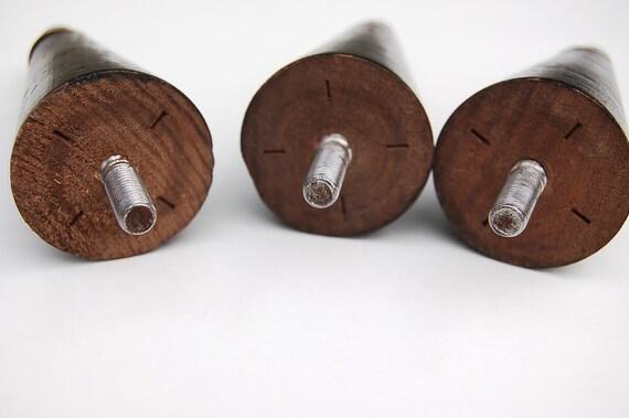 Drei 6 Mobelbeine Mid Century Konisch Holz Schwarz Etsy