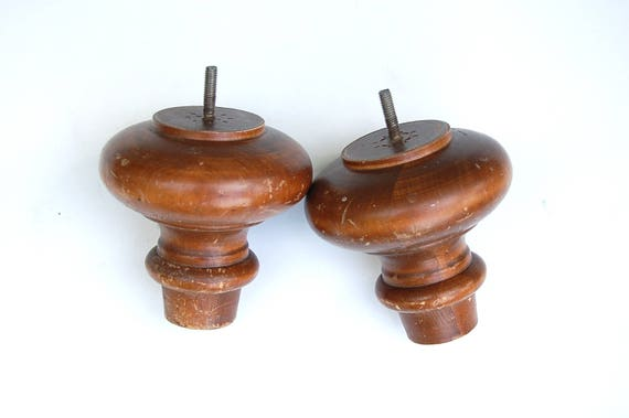 Vintage Two 5 Chunky Short Sofa Legs Round Turned Furniture Feet Large Finial Replacement Part Wood Salvage Architectural Elements Of Decor
