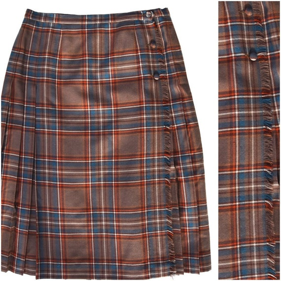 Vintage Brown Plaid Kilt | Retro Pleated Wrap Skir