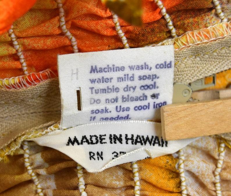 Yellow Shirred Bodice Made in Hawaii Orange Size Medium Summer Maxi Dress Brown Sundress 70s Hawaiian Dress