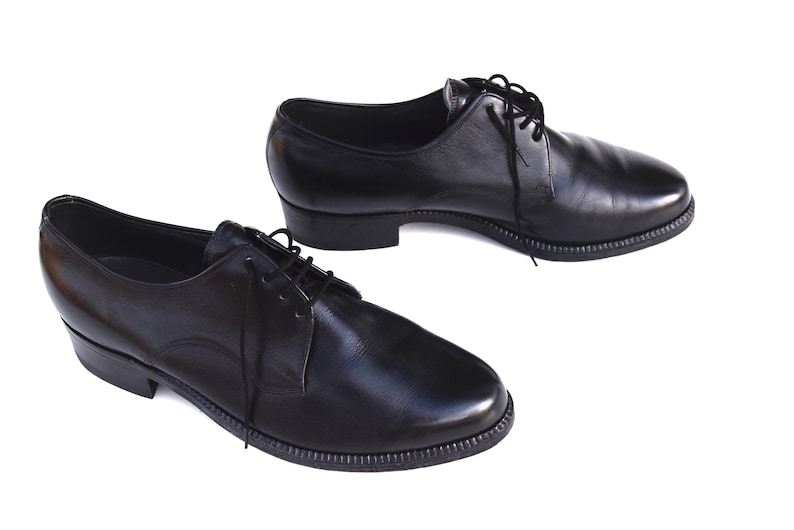 1960s Mens Black Leather Dress Shoes Retro Salamander Etsy