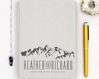 Wedding Guest Book Personalized Gold Guest Books Custom Guestbook Modern Wedding Mountain Theme Wedding Nature Tranquility Rustic White